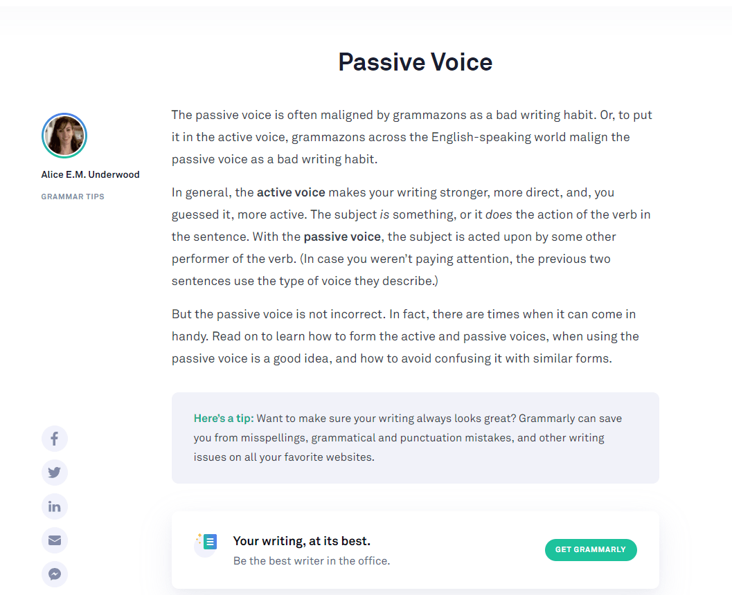 Grammarly Grammar Tips - Passive Voice