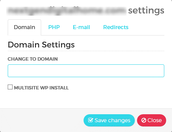 WPX Hosting Management Domain Settings