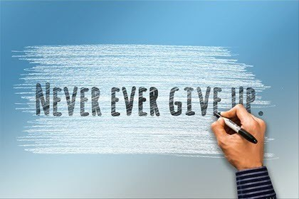 Never Give Up Hand Writing