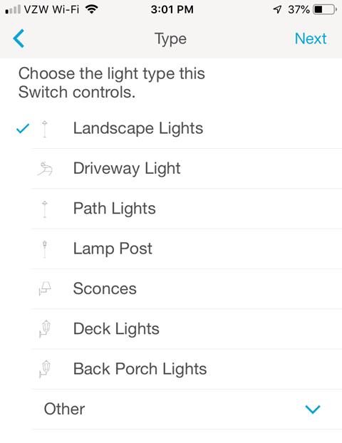 Lutron Caseta Smartphone App - Light Type selection