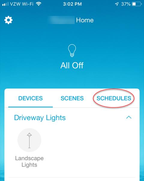 Lutron Caseta Smartphone App - Schedules Option