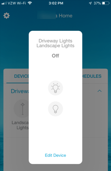 Lutron Caseta Smartphone App - Turn lights on or off