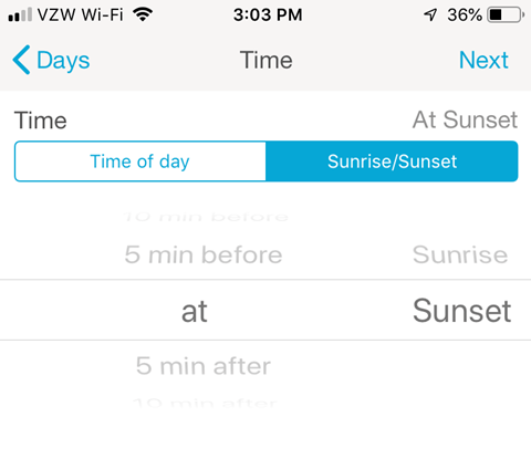 Lutron Caseta Smartphone App - Set Time of day or Sunrise/Sunset