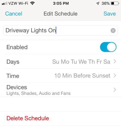 Lutron Caseta Smartphone App - Edit Schedule