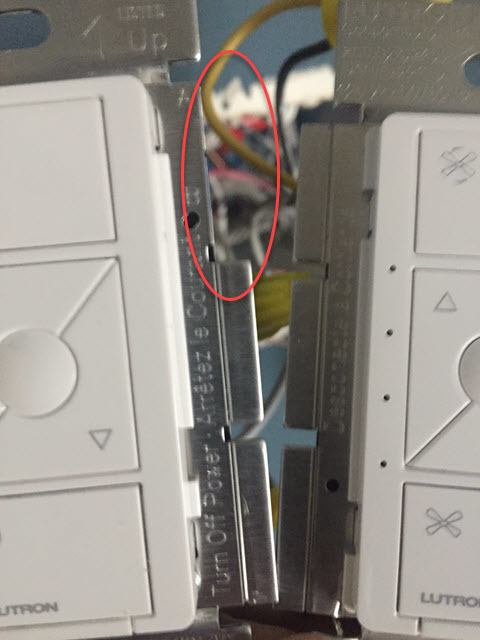 Replacing the Existing Toggle Switches - Electrical Box Smart Dimmer Side Tabs View