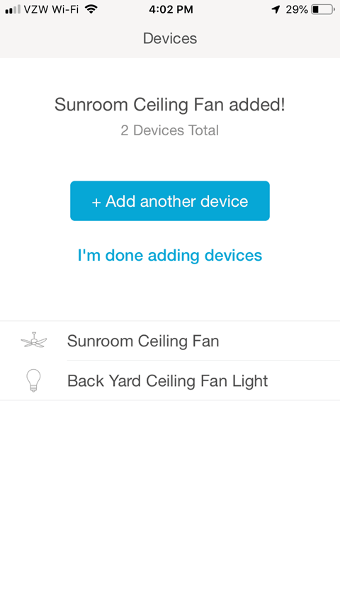 Device Added Confirmation Screen